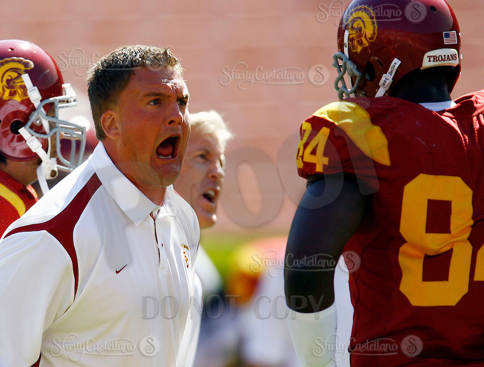 11 October 2008: NCAA Pac-10 USC Trojans 28-0 shut-out win over the Arizona State University Sun Devils during a day college football game at the Los Angeles Memorial Coliseum in Southern California.