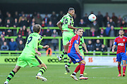 Forest Green Rovers Ethan Pinnock(16) heads the ball during the Vanarama National League match between Forest Green Rovers and Aldershot Town at the New Lawn, Forest Green, United Kingdom on 5 November 2016. Photo by Shane Healey.