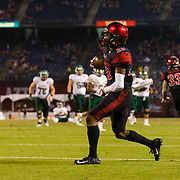 22 September 2018: San Diego State Aztecs cornerback Darren Hall (23) celebrates after intercepting a pass in overtime against Eastern Michigan. The San Diego State Aztecs beat the Eastern Michigan Eagles 23-20 in over time at SDCCU Stadium in San Diego, California.