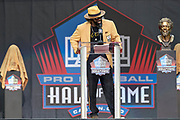 Aug 3, 2019; Canton, OH, USA; Ed Reed speaks during the Pro Football Hall of Fame Enshrinement at Tom Benson Hall of Fame Stadium. (Robin Alam/Image of Sport)
