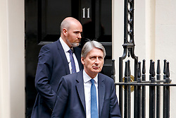 © Licensed to London News Pictures. 26/04/2017. London, UK. Chancellor PHILIP HAMMOND leaves Downing Street to attend Prime Minister's Question Time in House of Commons in London on 26 April 2017. Photo credit: Tolga Akmen/LNP
