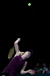 October 28, 2018 - Singapore - Elina Svitolina of the Ukraine serves during the Singles Championship match between Sloane Stephens and Elina Svitolina on day 8 of the WTA Finals at the Singapore Indoor Stadium. (Credit Image: © Paul Miller/ZUMA Wire)