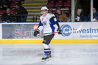 KELOWNA, CANADA - DECEMBER 5: Richard Nedomlel #24 of the Swift Current Broncos warms up on the ice at the Kelowna Rockets on December 5, 2012 at Prospera Place in Kelowna, British Columbia, Canada (Photo by Marissa Baecker/Shoot the Breeze) *** Local Caption ***