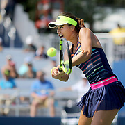 2017 U.S. Open Tennis Tournament - DAY FOUR.  Sorana Cirstea of Romania in action against Jelena Ostapenko of Latvia during the Women's Singles round two match at the US Open Tennis Tournament at the USTA Billie Jean King National Tennis Center on August 31, 2017 in Flushing, Queens, New York City.  (Photo by Tim Clayton/Corbis via Getty Images)