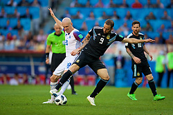 MOSCOW, RUSSIA - Saturday, June 16, 2018: Argentina's Gonzalo Higuain (right) and Iceland's Emil Hallfredsson (left) during the FIFA World Cup Russia 2018 Group D match between Argentina and Iceland at the Spartak Stadium. (Pic by David Rawcliffe/Propaganda)