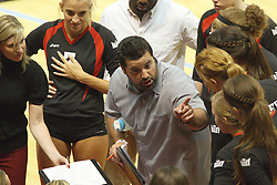 22 September 2012:  Assistant coach Jimmy Munoz hands out assignments at a time out during an NCAA womens volleyball match between the Bradley Braves and the Illinois State Redbirds at Redbird Arena in Normal IL