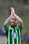 Barry Fuller (Captain) defender for AFC Wimbledon (2) during the Sky Bet League 2 match between Wycombe Wanderers and AFC Wimbledon at Adams Park, High Wycombe, England on 2 April 2016. Photo by Stuart Butcher.