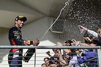Daniel Ricciardo (AUS) Red Bull Racing celebrates his third position on the podium.<br /> United States Grand Prix, Sunday 2nd November 2014. Circuit of the Americas, Austin, Texas, USA.