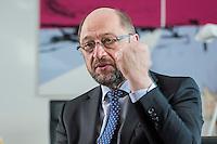 27 FEB 2017, BERLIN/GERMANY:<br /> Martin Schulz, SPD, desig. Parteivorsitzender und Kanzlerkandidat, waehrend einem Interview, in seinem Beuro, Willy-Brandt-Haus<br /> IMAGE: 20170227-01-023<br /> KEYWORDS: Faust