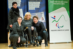 Designer Alenka Lalic (L), Coach Polona Sladic and Veselka Pevec at Presentation of a new stamp issued by Posta Slovenije with picture of Veselka Pevec, Paralympic shooting Gold medallist in Rio 2016, photographed by Vid Ponikvar (R), on December 7, 2016 in Videm, Slovenia. Photo by Vid Ponikvar / Sportida