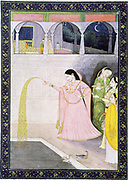 Album of Ragamala. Golden Rain.  Women by pool.  Crescent moon and stars in sky. 19th century Indian miniature, Rajasthan School.
