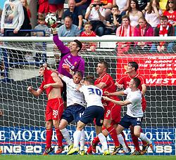 PRESTON, ENGLAND - Saturday, July 19, 2014: Liverpool's goalkeeper Brad Jones in action against Preston North End during a preseason friendly match at Deepdale Stadium. (Pic by David Rawcliffe/Propaganda)