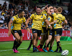 March 30, 2018 - Melbourne, Australia - Wellington Hurricanes celebrate another successful try during Round 7 of the Super Rugby Series between the Melbourne Rebels and the Wellington Hurricanes at AAMI Park in Melbourne. (Credit Image: © Jason Heidrich/Icon SMI via ZUMA Press)