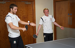 CARDIFF, WALES - Tuesday, September 4, 2012: Wales' Jonathan Williams and Adam Matthews during a players' table tennis tournament at the St. David's Hotel ahead of the Brazil 2014 FIFA World Cup Qualifying Group A match against Belgium. (Pic by David Rawcliffe/Propaganda)