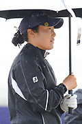 Tiffany Joh takes shelter during the final round of the Aberdeen Standard Investment Ladies Scottish Open 2018 at Gullane Golf Club, Gullane, Scotland on 29 July 2018. Picture by Kevin Murray.