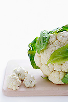 Close-up of cauliflower on cutting board