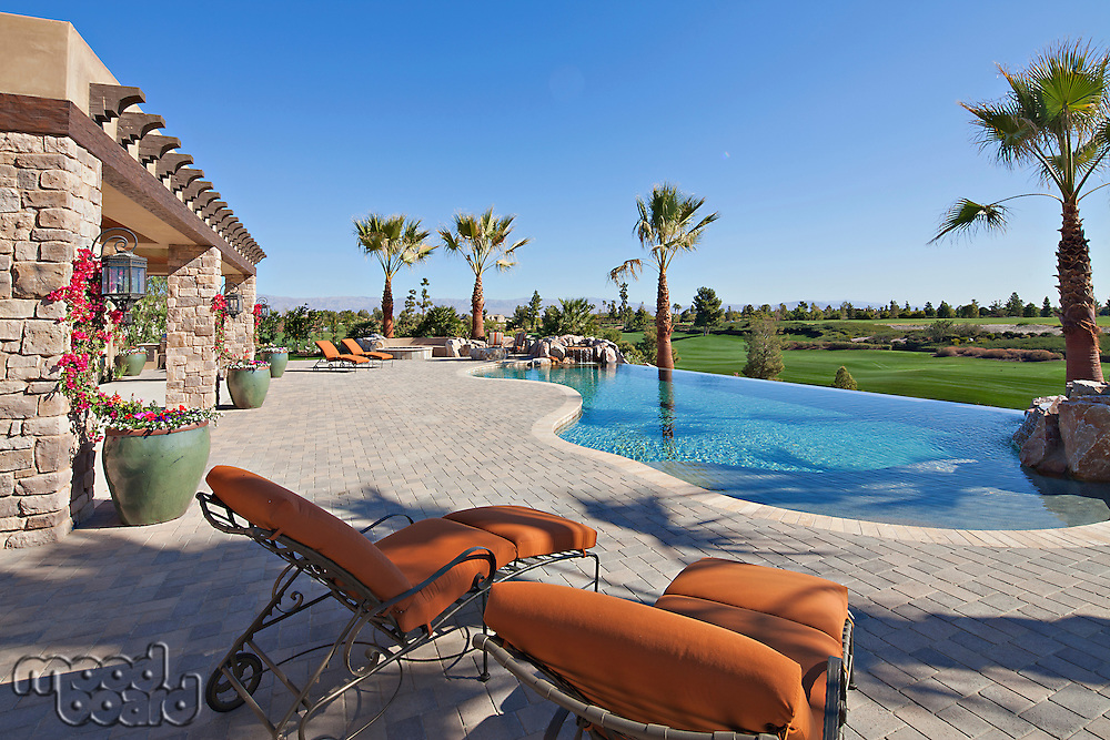 Looking over sun lounges to pool and garden