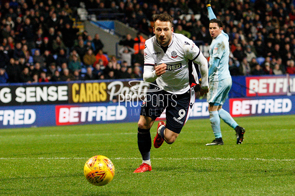 Bolton Wanderers striker Adam Le Fondre (9) during the EFL Sky Bet Championship match between Bolton Wanderers and Sunderland at the Macron Stadium, Bolton, England on 20 February 2018. Picture by Craig Galloway.