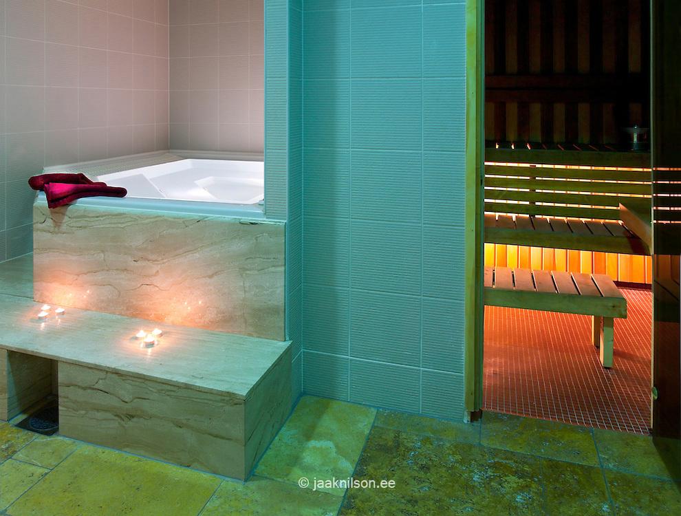 Sauna heat room and jacuzzi pool in Viimsi Spa Hotel in Tallinn, Estonia