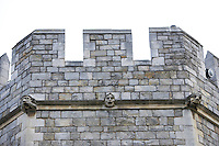 gargoyles and architectural details in walls of Windsor Castle