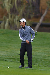 Feb 11, 2012; Pebble Beach CA, USA; Kevin Na before his second swing on the third hole during the third round of the AT&T Pebble Beach Pro-Am at Pebble Beach Golf Links. Mandatory Credit: Jason O. Watson-US PRESSWIRE