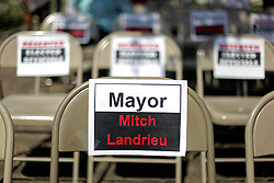 29 August 2015. Lower 9th Ward, New Orleans, Louisiana.<br /> Hurricane Katrina 10th Anniversary.<br /> A chair with Mayor Mitch Landrieu's name on it at the monument dedicated to the victims and survivors of those lost to the storm. <br /> Photo credit©; Charlie Varley/varleypix.com.