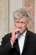 """24.09.10. Copenhagen, Denmark.  David Lynch's press conference opens the renovated Gl. Strand with """"The Air is on Fire"""". It is the first exhibition presented in Scandinavia that portrays David Lynch as a visual artist.The exhibition is the largest devoted to his work as a visual artist.Photo: © Ricardo Ramirez"""