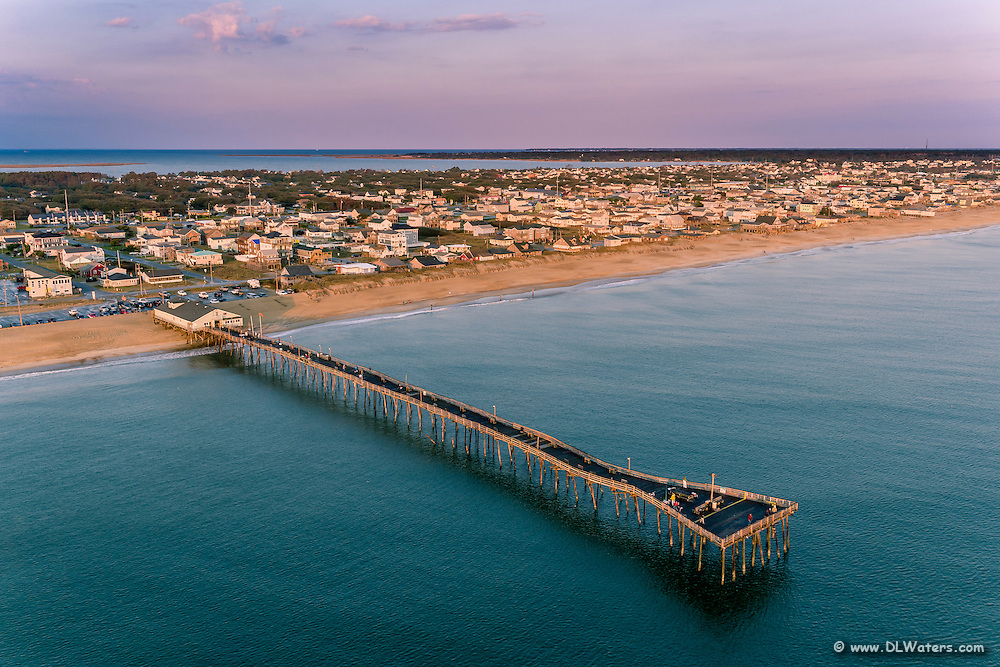 Avalon Fishing Pier aerial image on the Outer Banks, NC.