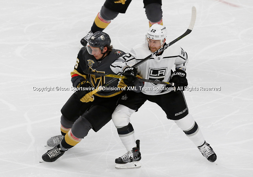 LAS VEGAS, NV - APRIL 11: Vegas Golden Knights left wing Erik Haula (56) and Los Angeles Kings center Trevor Lewis (22) battle for position during Game One of the Western Conference First Round of the 2018 NHL Stanley Cup Playoffs between the L.A. Kings and the Vegas Golden Knights Wednesday, April 11, 2018, at T-Mobile Arena in Las Vegas, Nevada. The Golden Knights won 1-0. (Photo by: Marc Sanchez/Icon Sportswire)