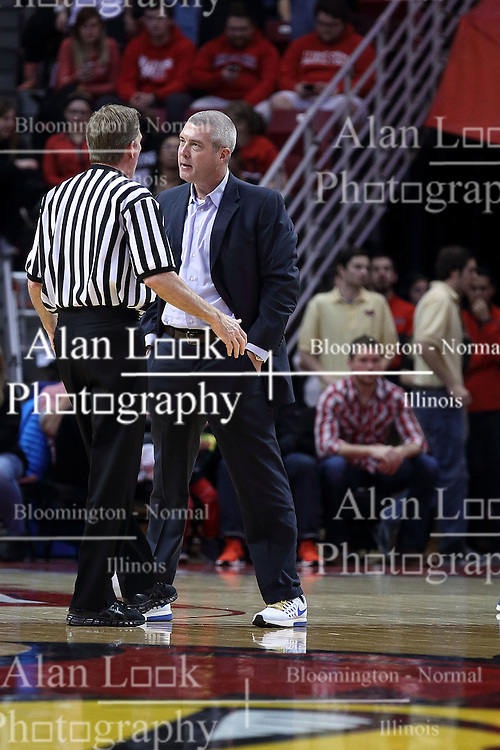 20 January 2017:  Rick Crawford explains a call to Greg Lansing near mid court during an NCAA Missouri Valley Conference mens basketball game Where the Purple Aces of Evansville lost to the Illinois State Redbirds 75-73 in Redbird Arena, Normal IL