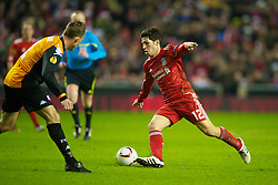 LIVERPOOL, ENGLAND - Wednesday, December 15, 2010: Liverpool's Dani Pacheco in action against FC Utrecht during the UEFA Europa League Group K match at Anfield. (Photo by: David Rawcliffe/Propaganda)