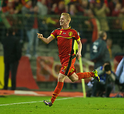 BRUSSELS, BELGIUM - Tuesday, October 15, 2013: Belgium's Kevin De Bruyne celebrates scoring the first goal against Wales during the 2014 FIFA World Cup Brazil Qualifying Group A match at the Koning Boudewijnstadion. (Pic by David Rawcliffe/Propaganda)