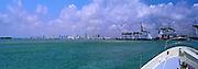 Miami FL, Skyline Cityscape, Gantry Cranes, Port of Miami, Panorama