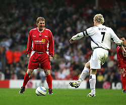 LIVERPOOL, ENGLAND - SUNDAY MARCH 27th 2005: Liverpool Legends' Kenny Dalglish and Celebrity XI's Nicky Byrne during the Tsunami Soccer Aid match at Anfield. (Pic by David Rawcliffe/Propaganda)