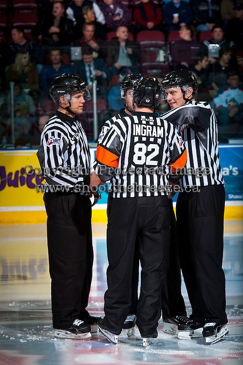 KELOWNA, CANADA - JANUARY 29: Officials gather at centre ice on January 29, 2016 at Prospera Place in Kelowna, British Columbia, Canada.  (Photo by Marissa Baecker/Shoot the Breeze)  *** Local Caption *** Dustin Minty; Mike Langin; Ward Pateman; Jeff Ingram;