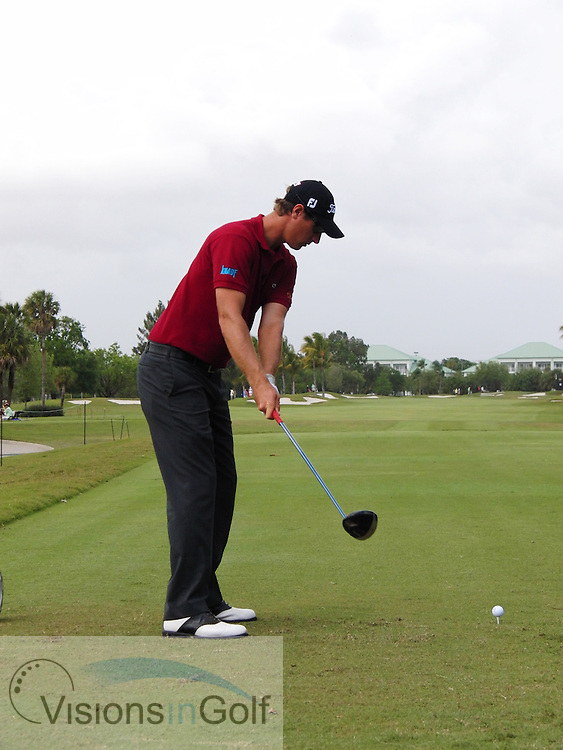Nicolas Colsaerts hi speed swing sequence from down the line, March 2012<br /> <br /> Picture Credit:  Mark Newcombe / visionsingolf.com