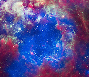 This composite of 30 Doradus, aka the Tarantula Nebula, contains data from Chandra, Hubble, and Spitzer. Located in the Large Magellanic Cloud, the Tarantula Nebula is one of the largest star-forming regions close to the Milky Way.
