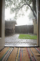 Heavy rain in backyard