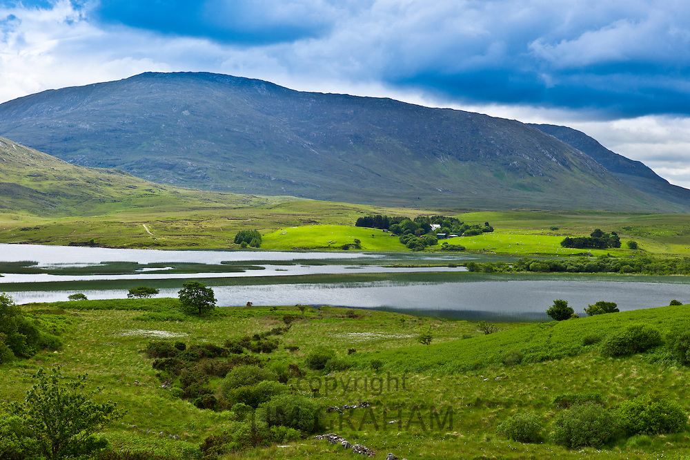 Farm at the foot of the Maamturk mountains near Maam, Connemara, County Galway, Ireland
