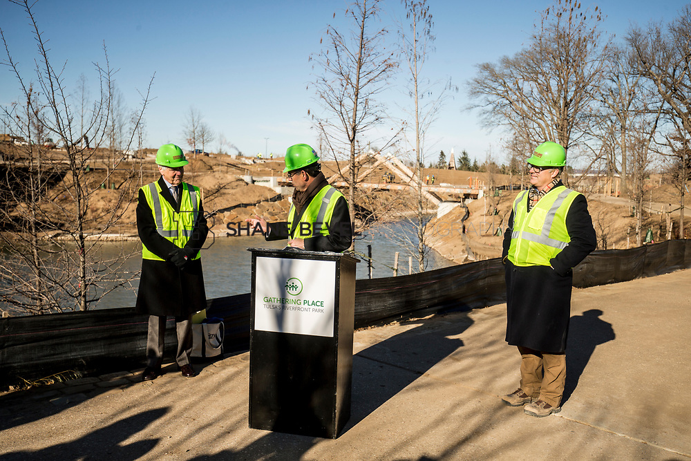 1/12/18 11:10:57 AM -- Halliburton CEO Jeff Miller and George Kaiser visit the Gathering Place for a press conference announcing Halliburton's support for the park. <br /> <br /> Photo by Shane Bevel
