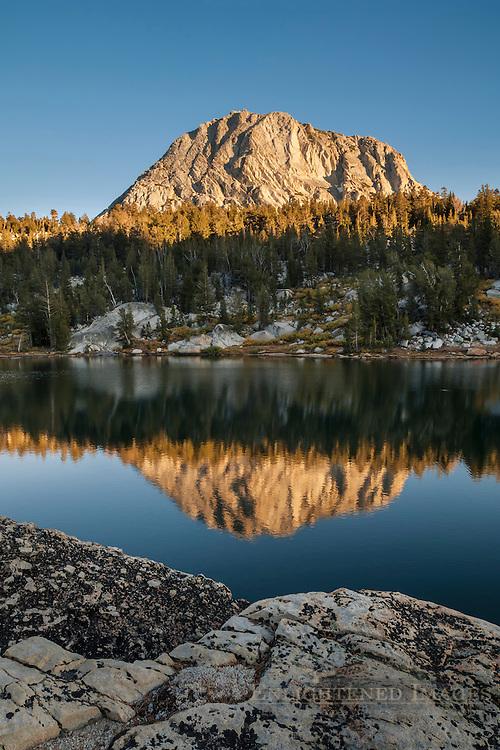 Fletcher Peak reflected in Boothe Lake, Vogelsang region, Yosemite National Park, California