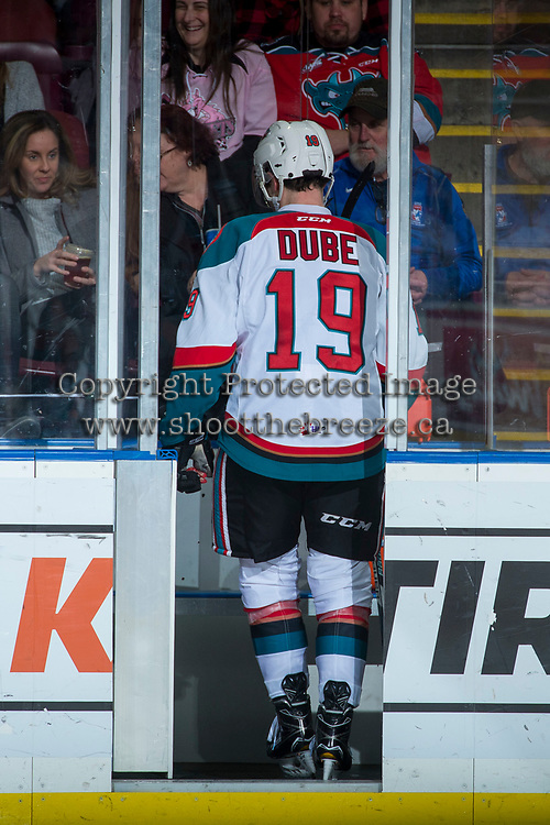 KELOWNA, CANADA - FEBRUARY 24:  Dillon Dube #19 of the Kelowna Rockets enters the penalty box during second period against the Kamloops Blazers on February 24, 2018 at Prospera Place in Kelowna, British Columbia, Canada.  (Photo by Marissa Baecker/Shoot the Breeze)  *** Local Caption ***