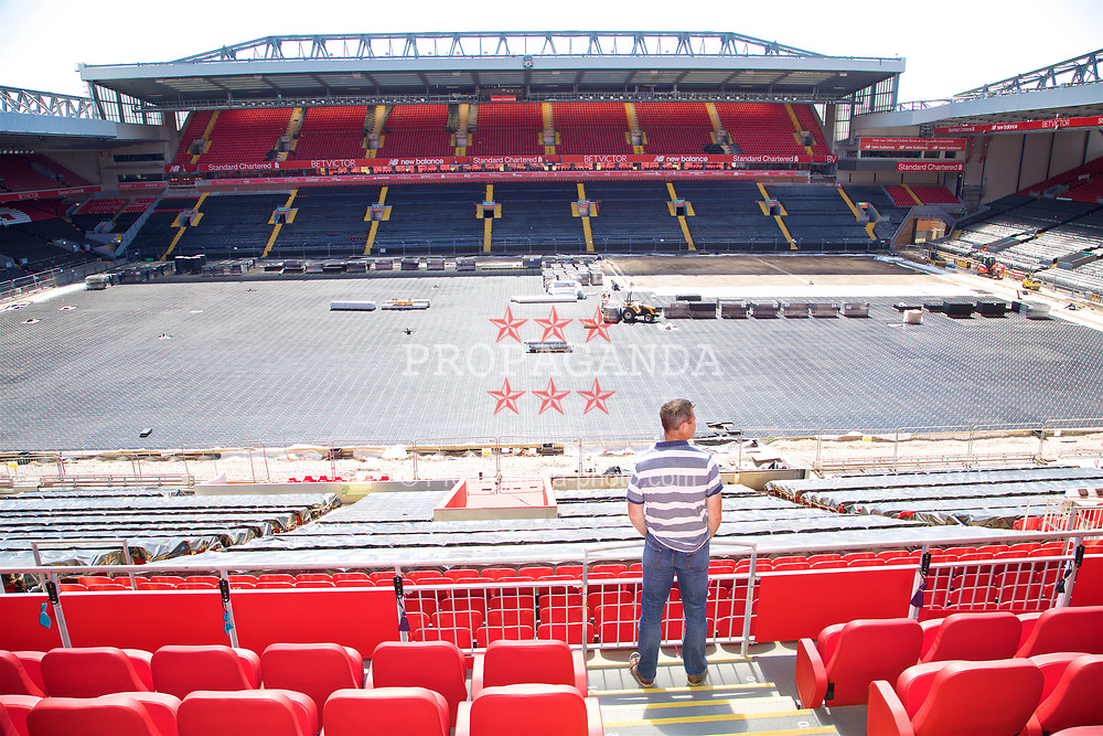 LIVERPOOL, ENGLAND - Sunday, June 18, 2017: Barry Cowan looks out at the pitch on a visit Anfield during Day Four of the Liverpool Hope University International Tennis Tournament 2017. (Pic by David Rawcliffe/Propaganda)