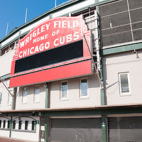 Picture of Wrigley Field sign in Chicago. Wrigley Field is home of the Chicago Cubs and was built in 1914 making it one of the oldest baseball stadiums in the United States.