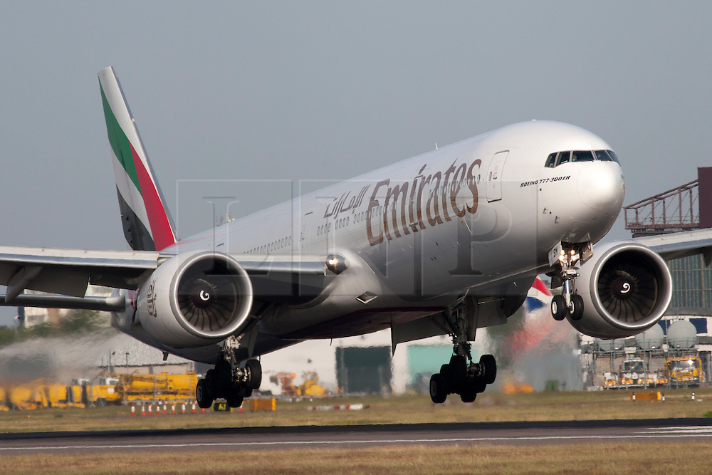 ©London News Pictures. Emirates Boeing 777  at London Heathrow Airport. Photo credit should read Ian Schofield/London News Pictures