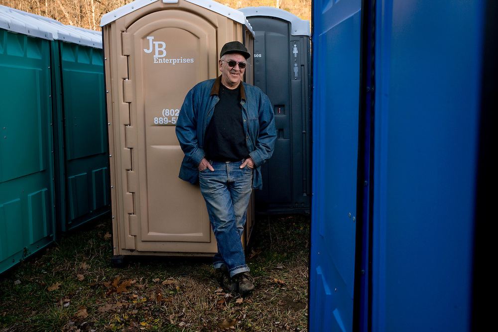 Photographed on Nov. 18, 2011, John Blakeney has lived in Tunbridge, Vt., since 1963 and has run a portable toilet business with his wife for the past 15 years. (Photo by Geoff Hansen)