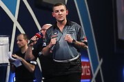 Nathan Aspinall wins the third set and celebrates during the World Darts Championships 2018 at Alexandra Palace, London, United Kingdom on 30 December 2018.