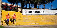 MALTA, La Valletta, voetbal, seizoen 2015-2016, 5-1-2016, winterstop, training PSV,  Hibernians Stadium, spelers en staf arriveren op het complex, PSV speler Adam Maher (M), PSV speler Joshua Brenet (L).