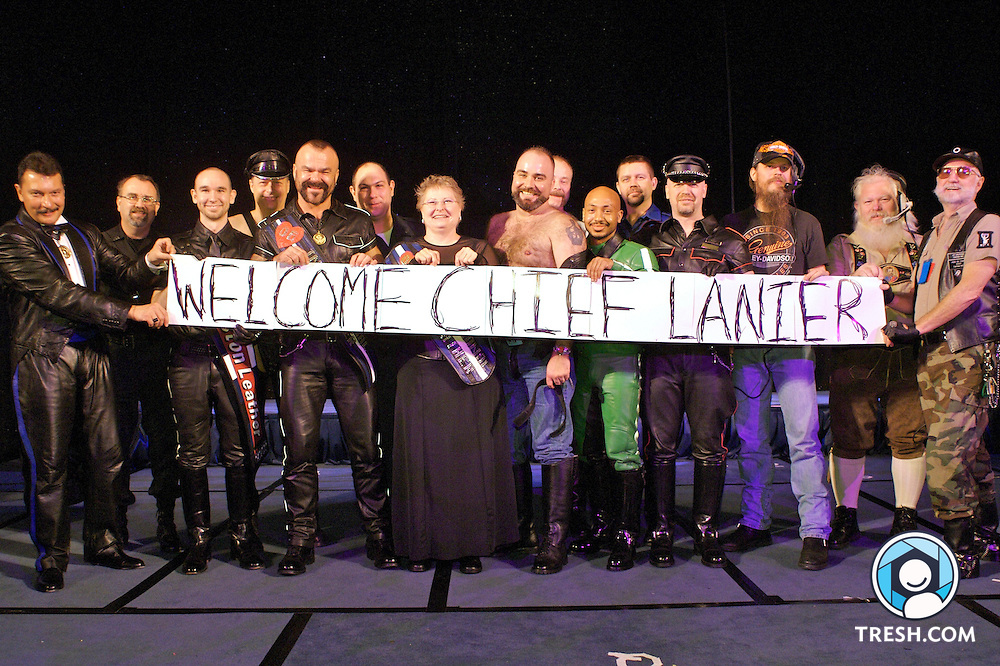 Sgt. Brett Parson and members of the leather community welcome incoming Police Cheif Cathy L. Lanier.