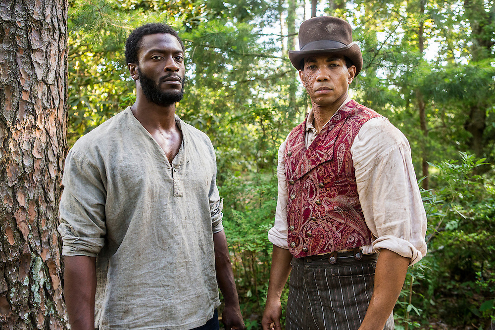 "Aldis Hodge as Noah and Alano Miller as Cato in WGN America's ""Underground."""